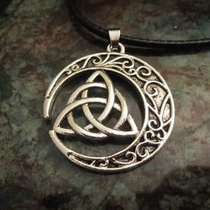 Jewelry - Triquetra in crescent moon necklace NWOT